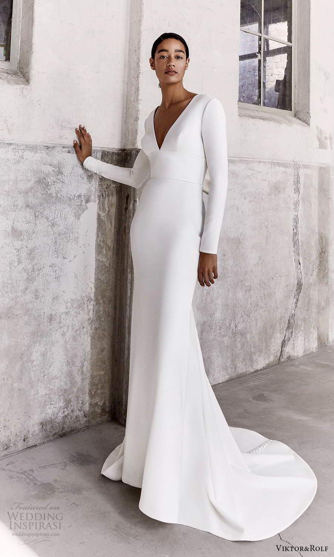 viktor and rolf fall 2021 bridal long sleeves v neckline clean minimalist sheath wedding dress sweep train (3) mv