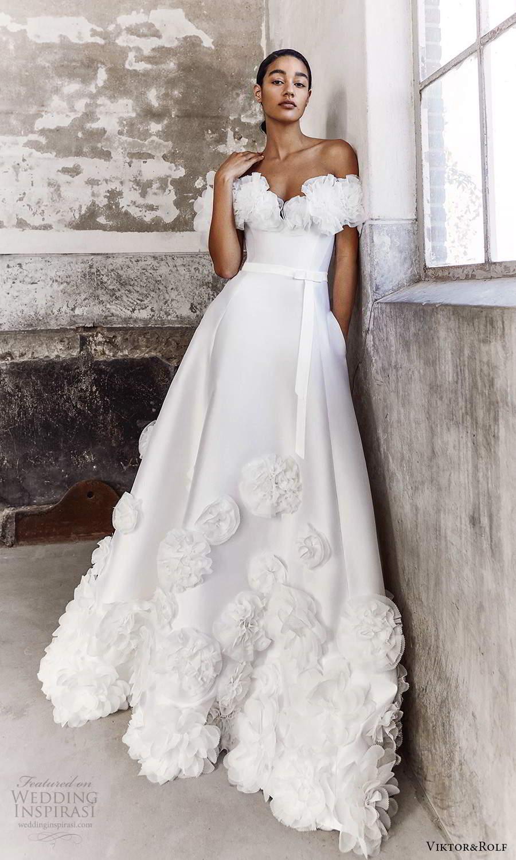 viktor and rolf fall 2021 bridal off shoulder sweetheart neckline embellished modern a line ball gown wedding dress (9) mv