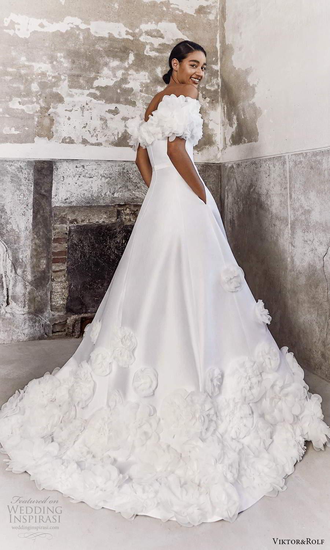 viktor and rolf fall 2021 bridal off shoulder sweetheart neckline embellished modern a line ball gown wedding dress chapel train pockets (9) bv