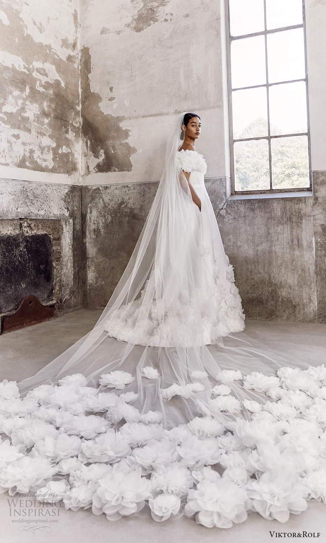 viktor and rolf fall 2021 bridal off shoulder sweetheart neckline embellished modern a line ball gown wedding dress chapel train pockets veil (9) bv