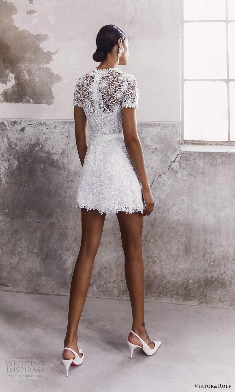 viktor and rolf fall 2021 bridal short sleeves jewel neckline embellished lace short wedding dress (13) bv
