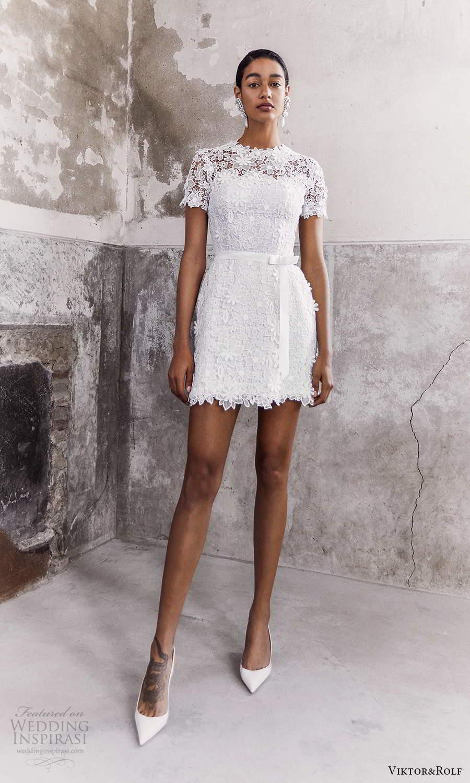 viktor and rolf fall 2021 bridal short sleeves jewel neckline embellished lace short wedding dress (13) mv