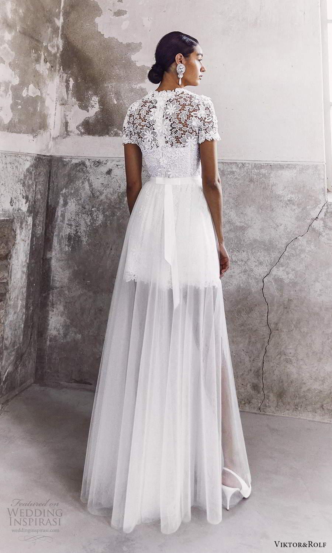 viktor and rolf fall 2021 bridal short sleeves jewel neckline embellished lace short wedding dress a line overskirt (13) bv