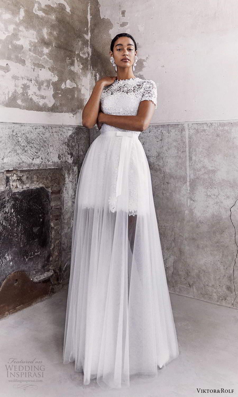 viktor and rolf fall 2021 bridal short sleeves jewel neckline embellished lace short wedding dress a line overskirt (13) mv