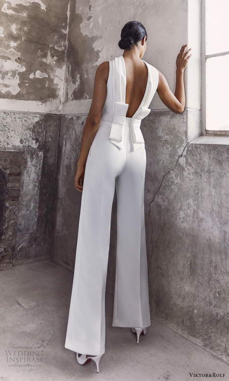 viktor and rolf fall 2021 bridal sleeveless high funnel neckline jumpsuit wedding dress pants (19) bv