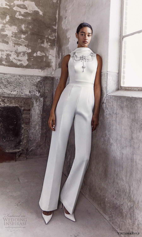 viktor and rolf fall 2021 bridal sleeveless high funnel neckline jumpsuit wedding dress pants (19) mv