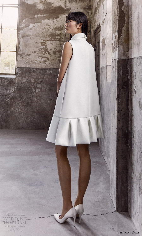 viktor and rolf fall 2021 bridal sleeveless high neckline clean modern short shift wedding dress (20) bv