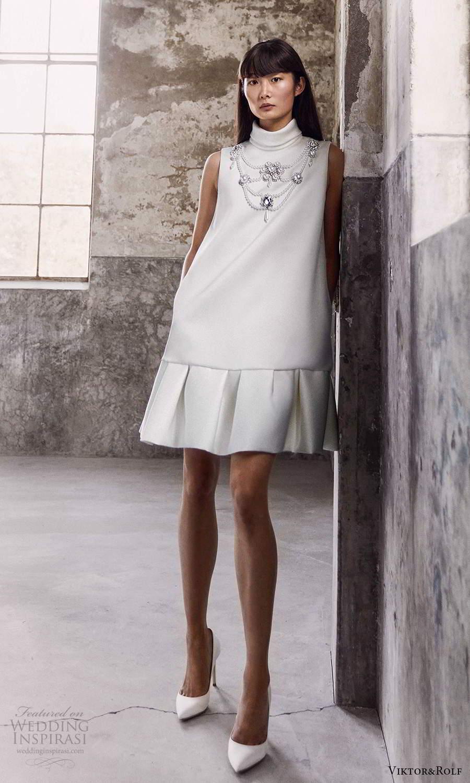 viktor and rolf fall 2021 bridal sleeveless high neckline clean modern short shift wedding dress (20) mv