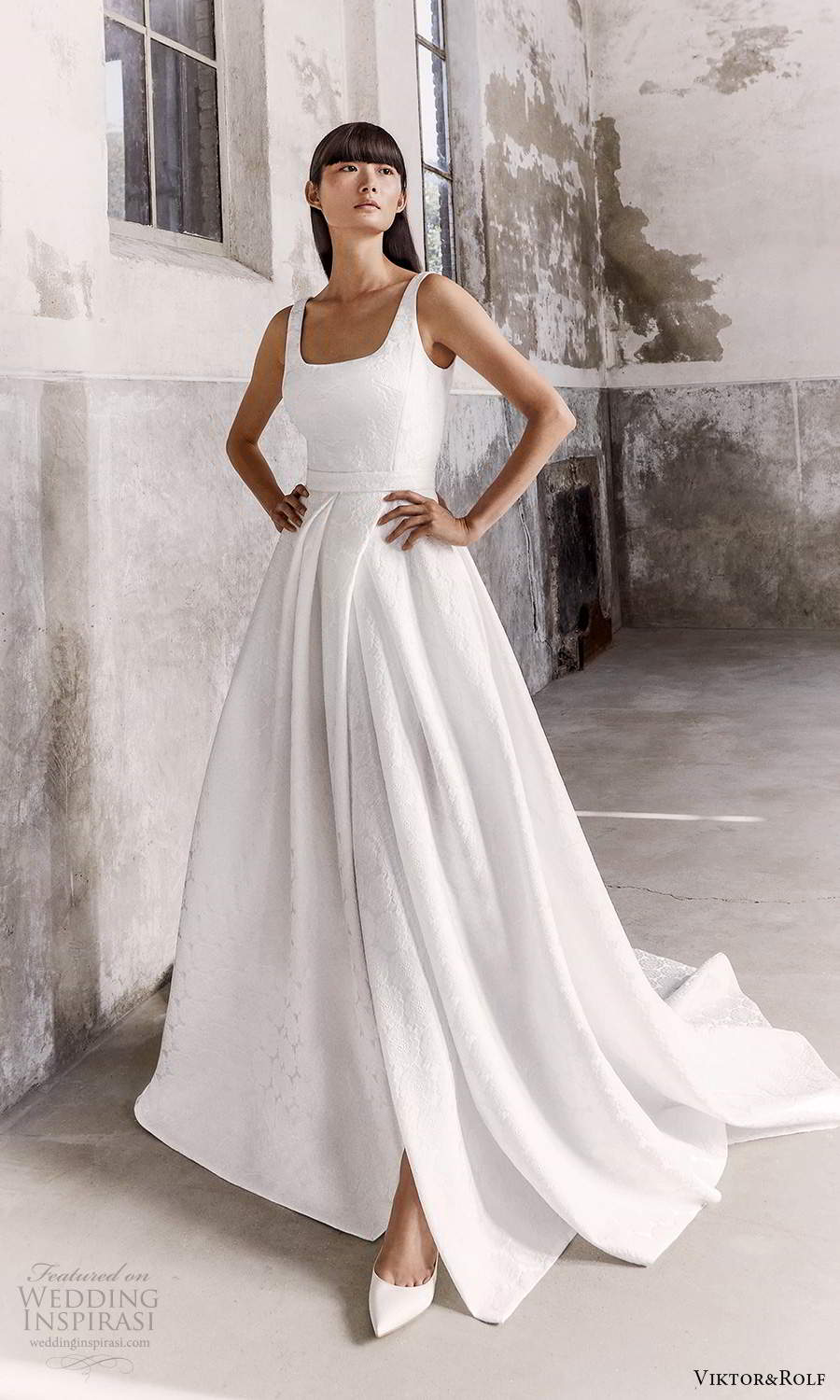 viktor and rolf fall 2021 bridal sleeveless straps square neckline clean textured a line ball gown wedding dress chapel train (2) mv