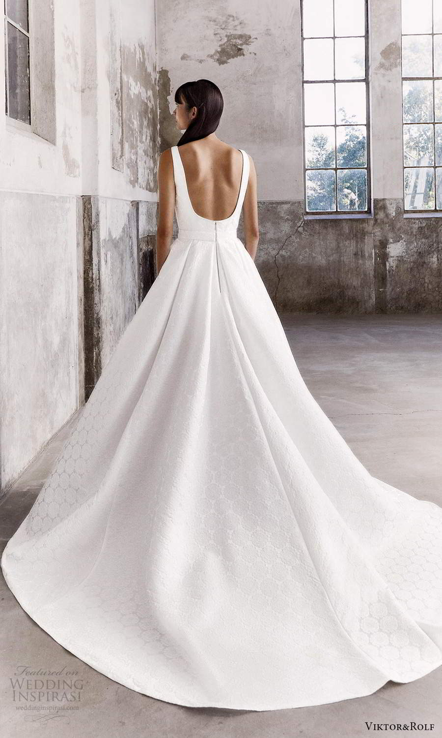 viktor and rolf fall 2021 bridal sleeveless straps square neckline clean textured a line ball gown wedding dress chapel train scoop back (2) bv