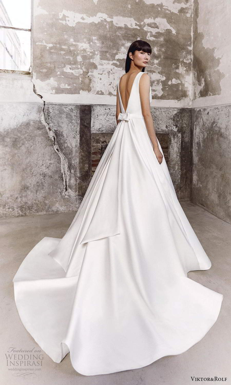 viktor and rolf fall 2021 bridal sleeveless straps v neckline clean minimalist a line ball gown wedding dress chapel train (14) bv