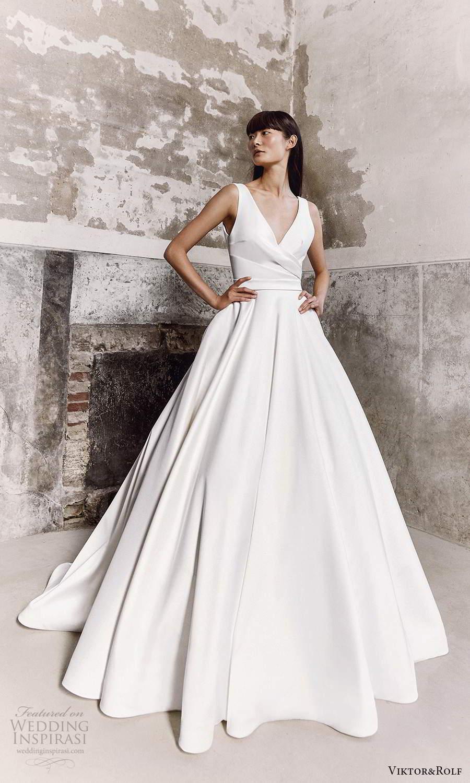 viktor and rolf fall 2021 bridal sleeveless straps v neckline clean minimalist a line ball gown wedding dress chapel train (14) mv