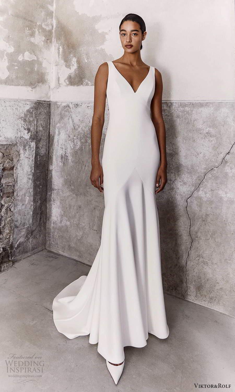 viktor and rolf fall 2021 bridal sleeveless straps v neckline clean minimalist sheath wedding dress chapel train (15) mv