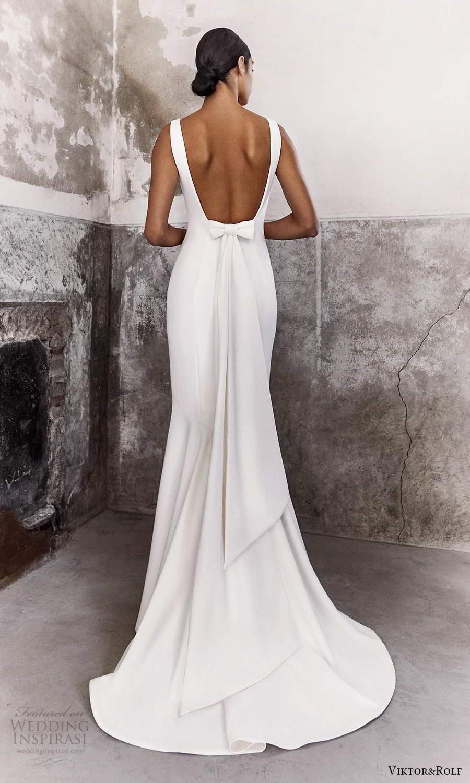 viktor and rolf fall 2021 bridal sleeveless straps v neckline clean minimalist sheath wedding dress chapel train open back (15) bv