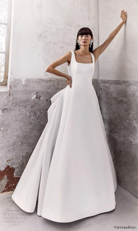 viktor and rolf fall 2021 bridal sleeveless thick straps square neckline clean minimalist a line wedding dress bow back chapel train (12) mv