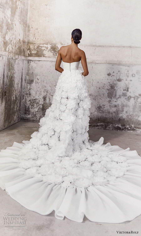 viktor and rolf fall 2021 bridal strapless straight across neckline clean bodice ruffle skirt a line high low wedding dress chapel train (7) bv