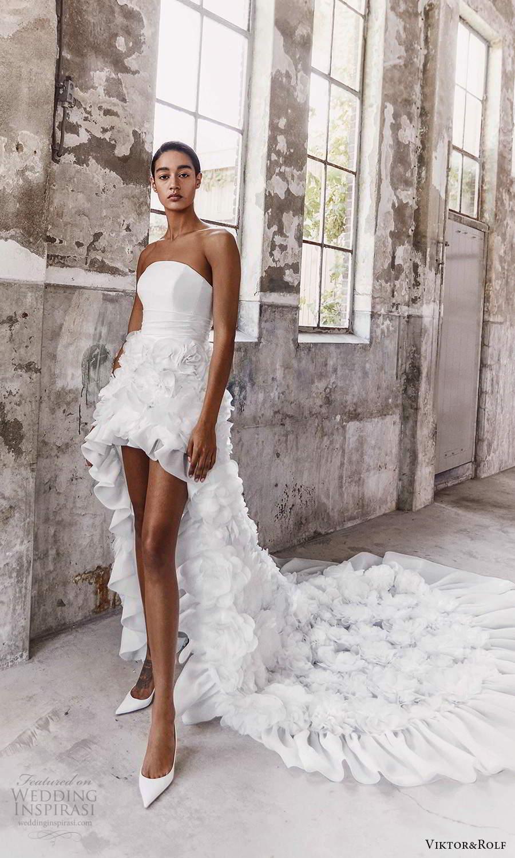 viktor and rolf fall 2021 bridal strapless straight across neckline clean bodice ruffle skirt a line high low wedding dress chapel train (7) mv