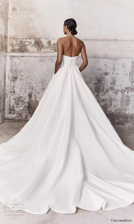 viktor and rolf fall 2021 bridal strapless straight across neckline clean minimalist a line ball gown wedding dress chapel train (1) bv