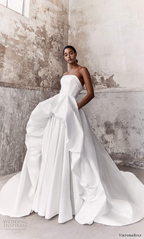 viktor and rolf fall 2021 bridal strapless straight across neckline clean minimalist a line ball gown wedding dress chapel train (1) mv