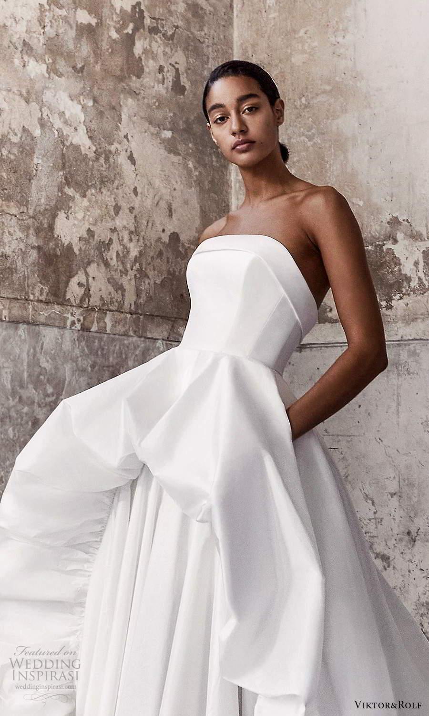 viktor and rolf fall 2021 bridal strapless straight across neckline clean minimalist a line ball gown wedding dress chapel train (1) zv