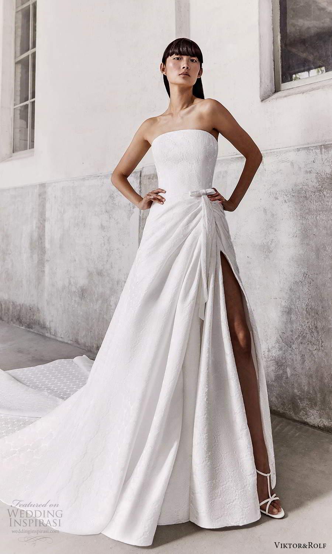 viktor and rolf fall 2021 bridal strapless straight across neckline clean modern a line ball gown wedding dress slit skirt chapel train (8) mv