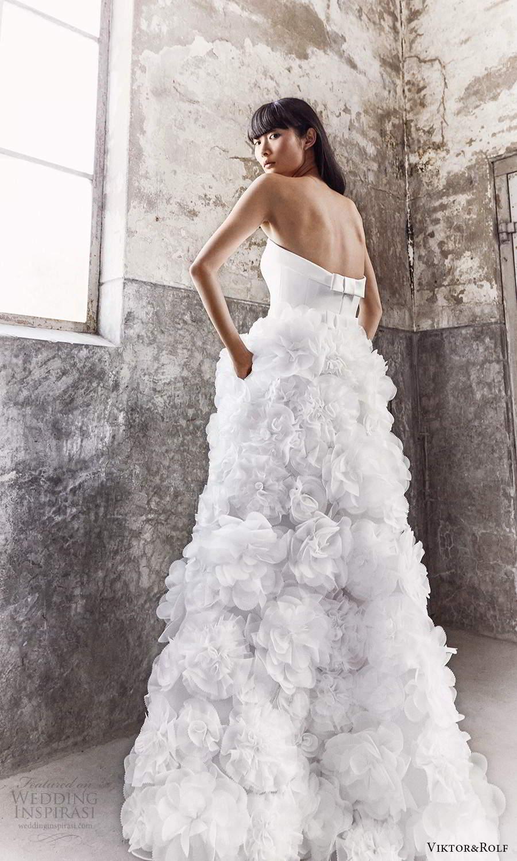 viktor and rolf fall 2021 bridal strapless straight across neckline clean modern embellished skirt a line wedding dress (10) bv