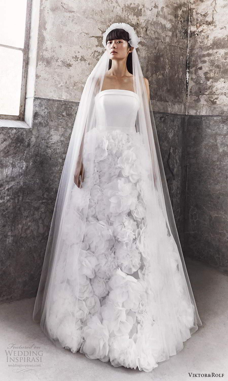 viktor and rolf fall 2021 bridal strapless straight across neckline clean modern embellished skirt a line wedding dress (10) mv