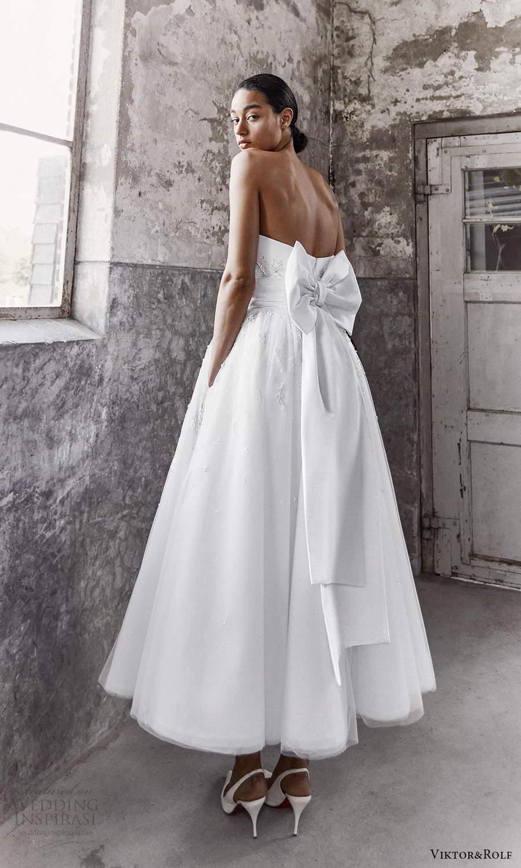 viktor and rolf fall 2021 bridal strapless sweetheart neckline clean modern a line ball gown tea length wedding dress pockets (11) bv