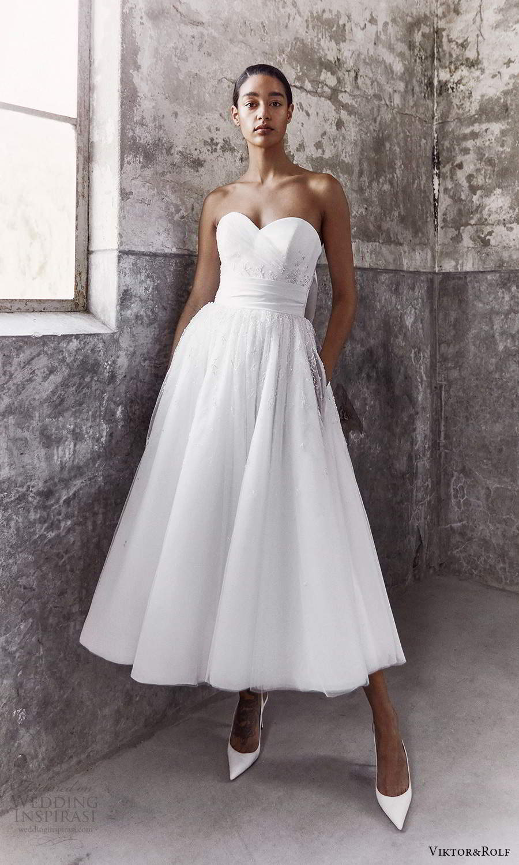 viktor and rolf fall 2021 bridal strapless sweetheart neckline clean modern a line ball gown tea length wedding dress pockets (11) mv