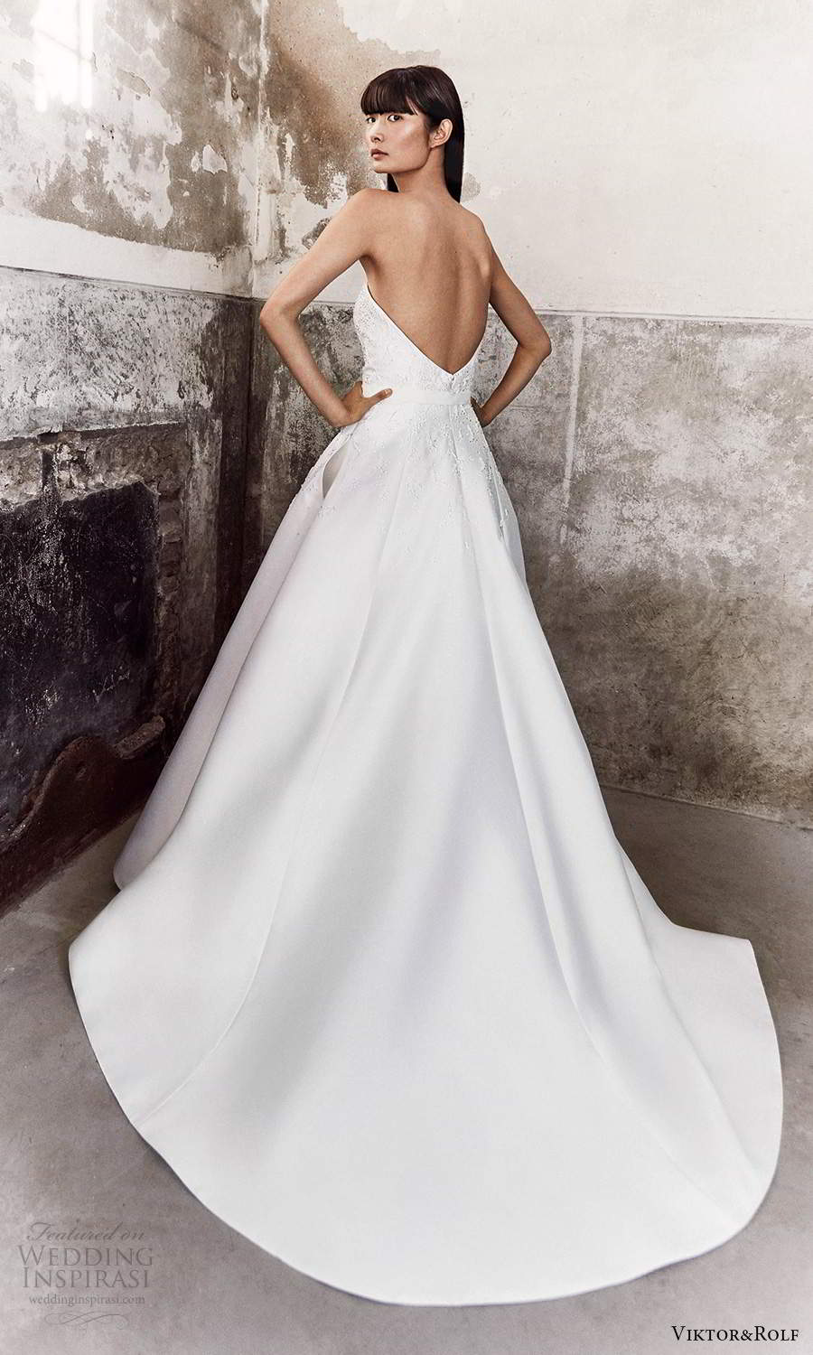 viktor and rolf fall 2021 bridal strapless sweetheart neckline embellished bodice a line ball gown wedding dress chapel train (16) bv
