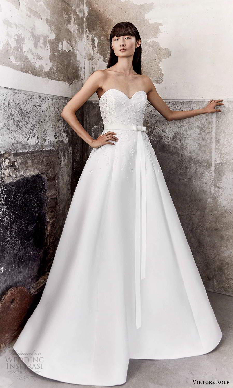 viktor and rolf fall 2021 bridal strapless sweetheart neckline embellished bodice a line ball gown wedding dress chapel train (16) mv