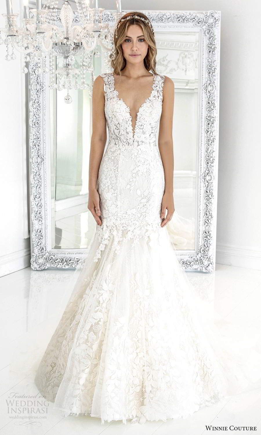 winnie couture 2021 bridal sleeveless thick straps plunging v neckline fully embellished lace fit flare mermaid wedding dress chapel train (4) mv