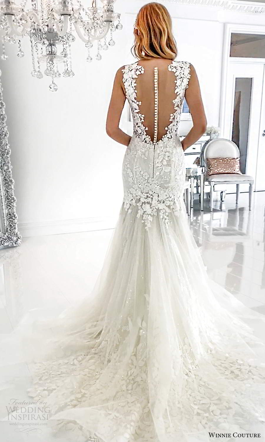 winnie couture 2021 bridal sleeveless thick straps plunging v neckline fully embellished lace fit flare mermaid wedding dress chapel train sheer back (4) bv