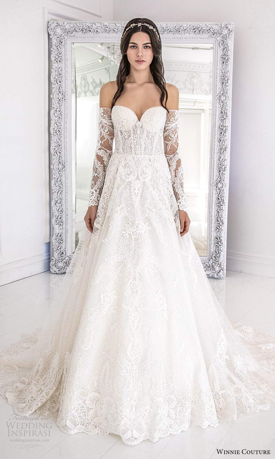winnie couture 2021 bridal strapless sweetheart neckline fully embellished lace a line ball gown wedding dress detached sheer long sleeves (6) mv