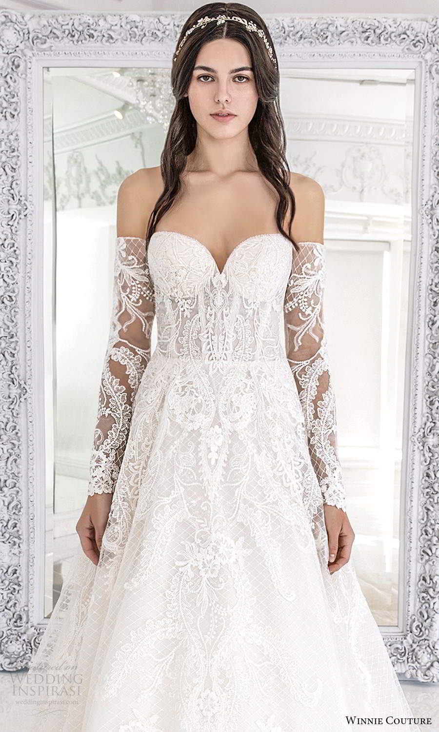 winnie couture 2021 bridal strapless sweetheart neckline fully embellished lace a line ball gown wedding dress detached sheer long sleeves (6) zv