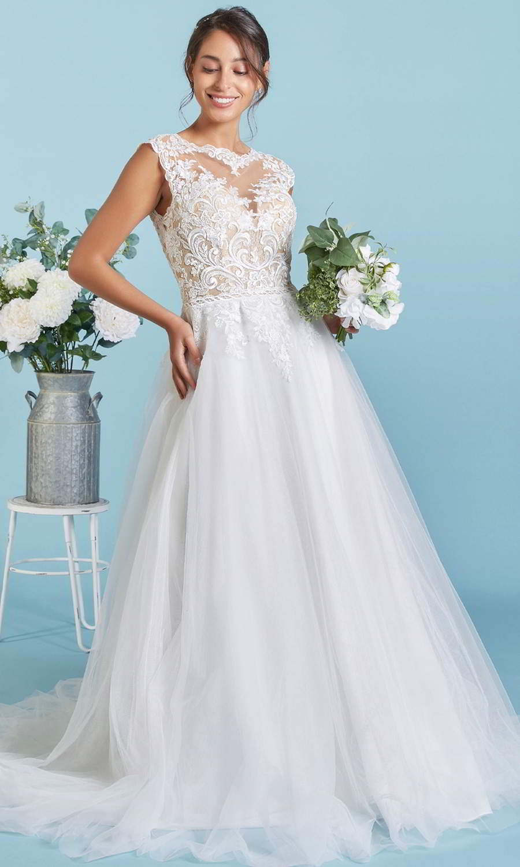 afarose 2021 bridal cap sleeve jewel neckline embellished bodice a line ball gown wedding dress chapel train (karin) mv