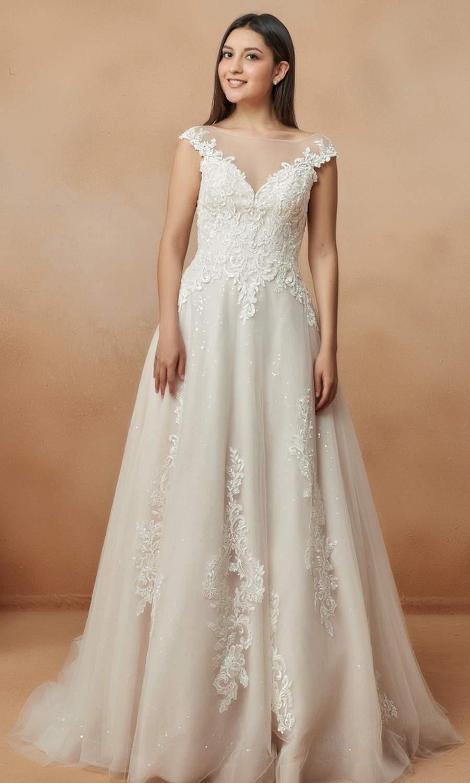 afarose 2021 bridal cap sleeves bateau neckline embellished bodice a line ball gown wedding dress chapel train (juno) mv