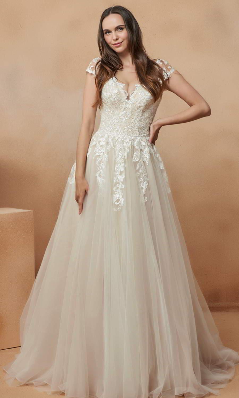 afarose 2021 bridal cap sleeves v neckline heavily embellished bodice clean skirt a line ball gown wedding dress chapel train (adela) mv
