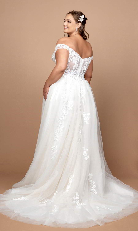 afarose 2021 bridal off shoulder straps sweetheart neckline embellished bodice a line ball gown wedding dress (bliss) bv