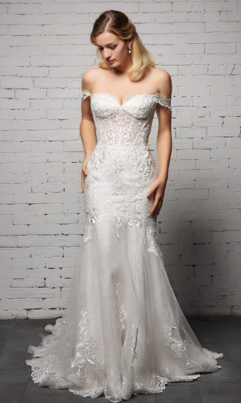 afarose 2021 bridal off shoulder swag straps sweetheart neckline fully embellished lace fit flare mermaid chapel train (moonstone) fv