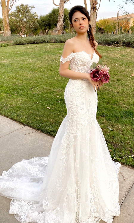 afarose 2021 bridal off shoulder swag straps sweetheart neckline fully embellished lace fit flare mermaid chapel train (moonstone) mv