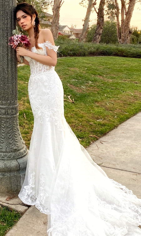 afarose 2021 bridal off shoulder swag straps sweetheart neckline fully embellished lace fit flare mermaid chapel train (moonstone) sv