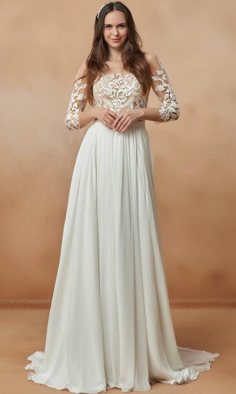 afarose 2021 bridal sheer 3 quarter sleeve bateau neckline embellished lace bodice clean skirt a line wedding dress chapel train (hana) mv