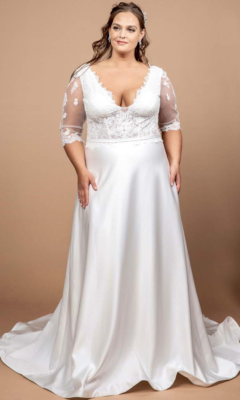 afarose 2021 bridal sheer 3 quarter sleeve v neckline embellished lace bodice a line wedding dress chapel train (mignon) mv