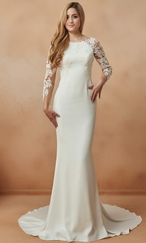 afarose 2021 bridal sheer long sleeve bateau neckline clean chic sheath wedding dress chapel train (vita) mv