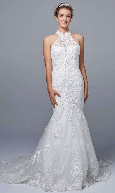 afarose 2021 bridal sleeveless halter neckline fully embellished lace sheath mermaid wedding dress chapel train (karen) mv