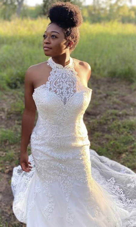 afarose 2021 bridal sleeveless halter neckline fully embellished lace sheath mermaid wedding dress chapel train (karen) zv