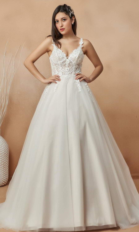 afarose 2021 bridal sleeveless lace straps embellished lace bodice a line ball gown wedding dress (noemi a) mv