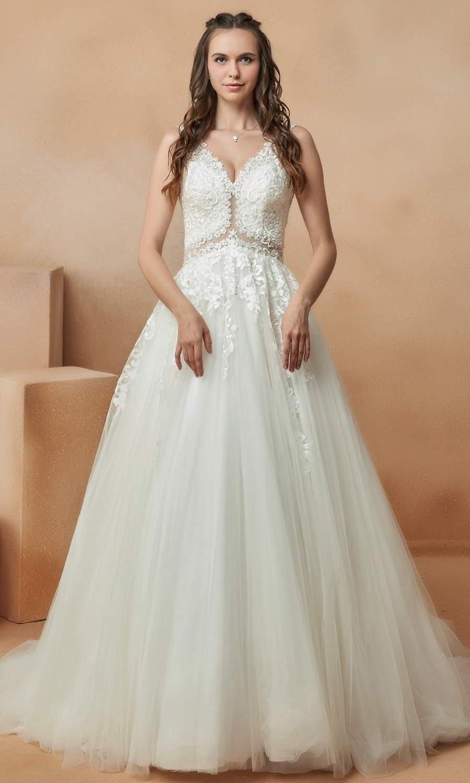 afarose 2021 bridal sleeveless straps heavily embellished bodice a line ball gown wedding dress chapel train (durriya) mv