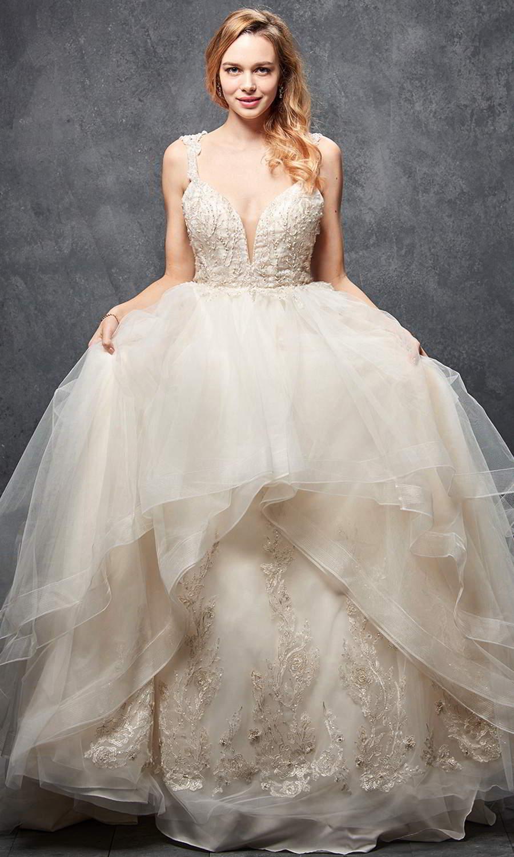 afarose 2021 bridal sleeveless straps plunging v neckline embellished bodice a line ball gown wedding dress chapel train (Angela) mv